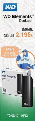 Ổ cứng ngoài WD Elements 2tb tặng áo mưa