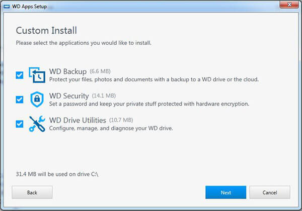 Cài đặt WD Backup - WD Security - WD Utilities