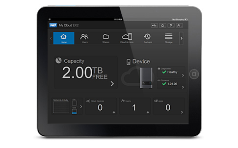 dashboard wd my cloud ex2