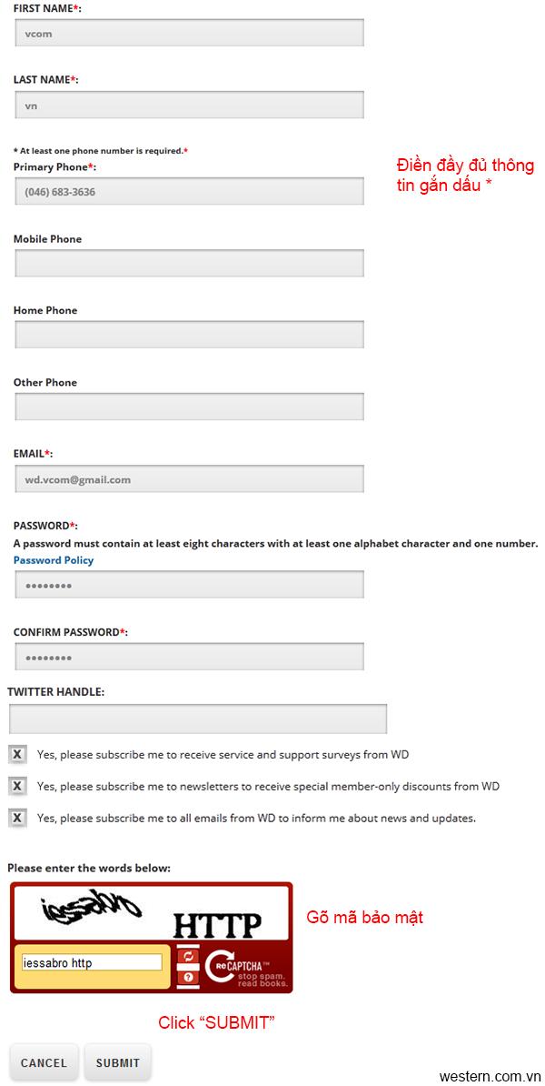 hướng dẫn đăng ký bảo hành ổ cứng Western Digital