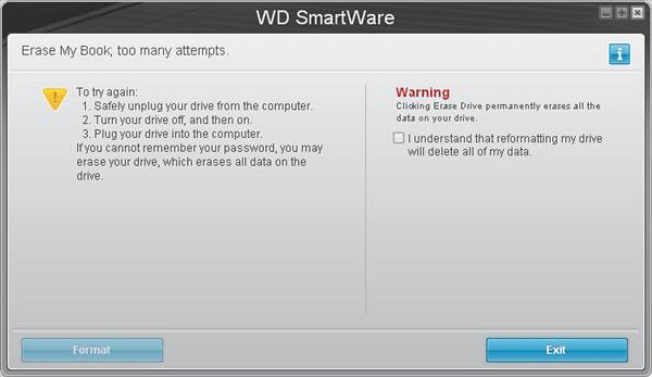 quên mật khẩu trong WD SmartWare