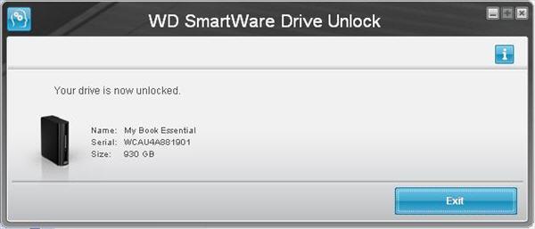 mở khóa bằng tay trong WD SmartWare