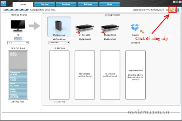 Hướng dẫn nâng cấp phần mềm WD SmartWare lên SmartWare Pro và mua