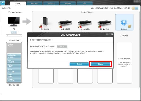 Hướng dẫn sao lưu tới tài khoản Dropbox sử dụng WD SmartWare Pro
