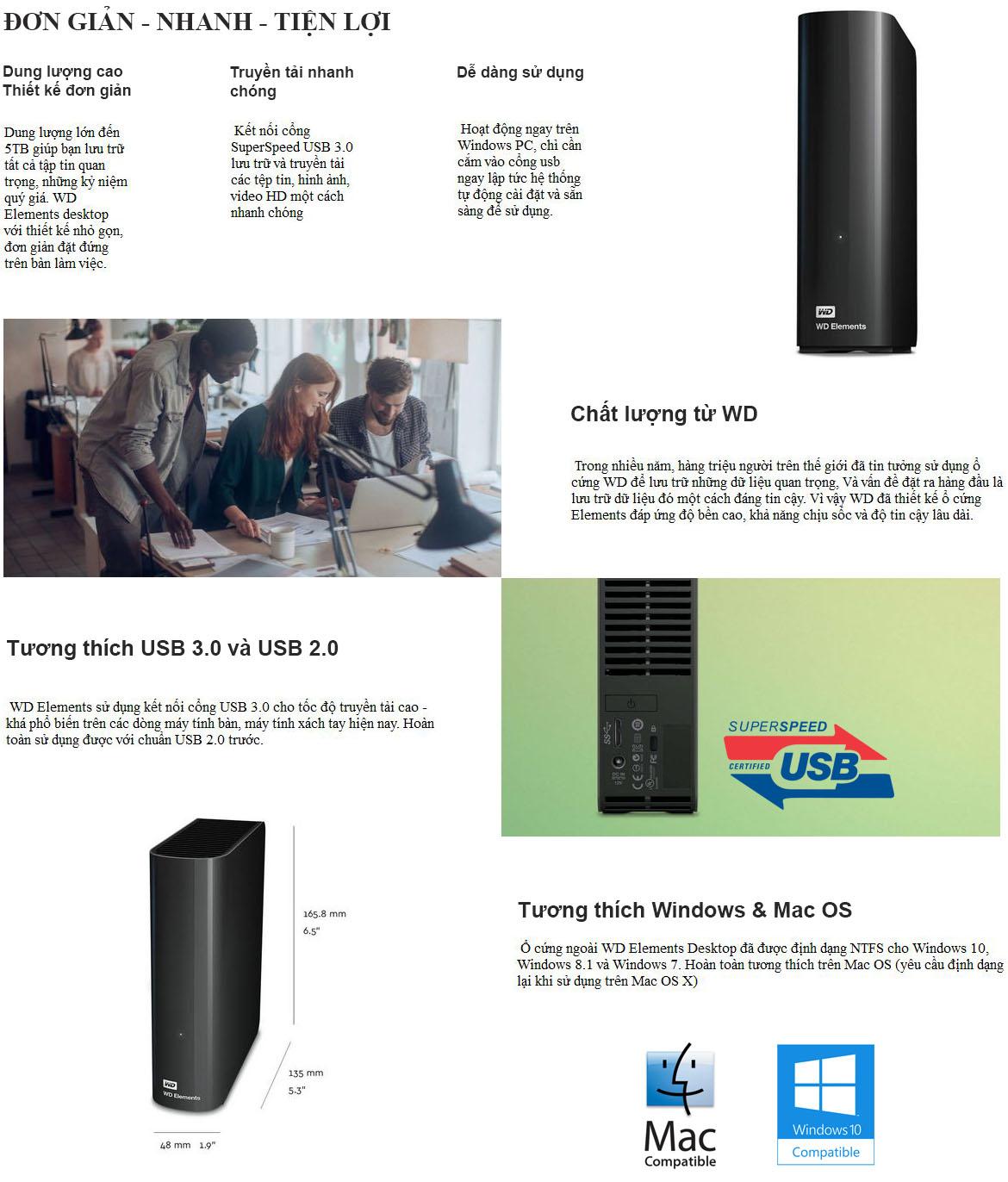 Tính năng ổ cứng WD Elements Desktop