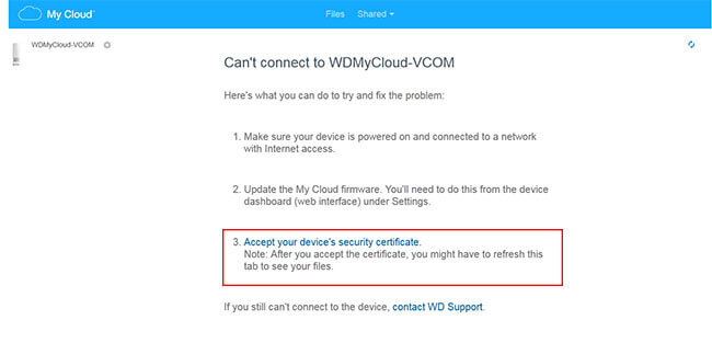 certificate nas wd my cloud