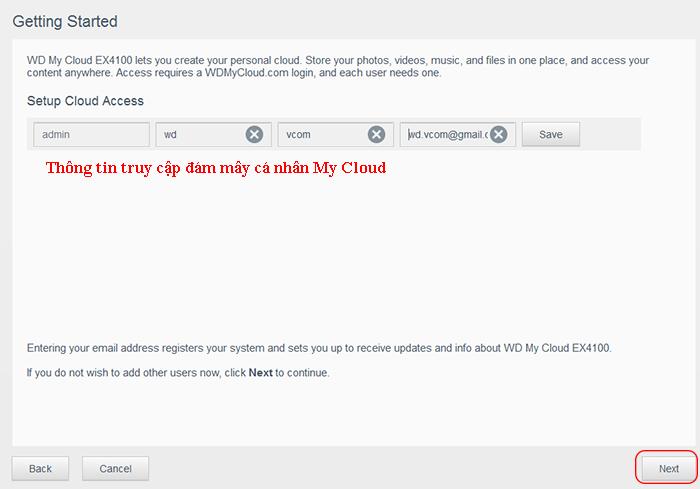 cấu hình admin trong my cloud ex4100